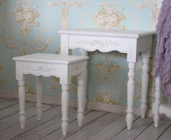 白家具 アンティークなネストテーブル 2個セット カントリーコーナー 【Country Corner】 ROMANCE ロマンス・コレクション フラ
