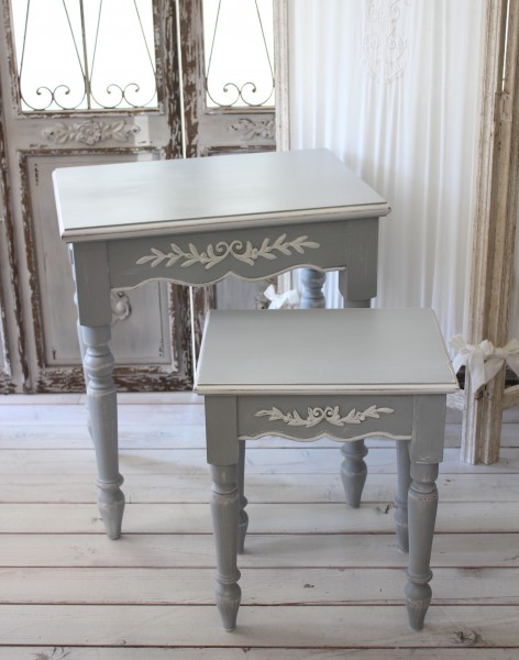 フランス家具 ネストテーブル(2サイズセット) グレー 121149 カントリーコーナー フレンチグレー ネストテーブル 輸入家具 フ