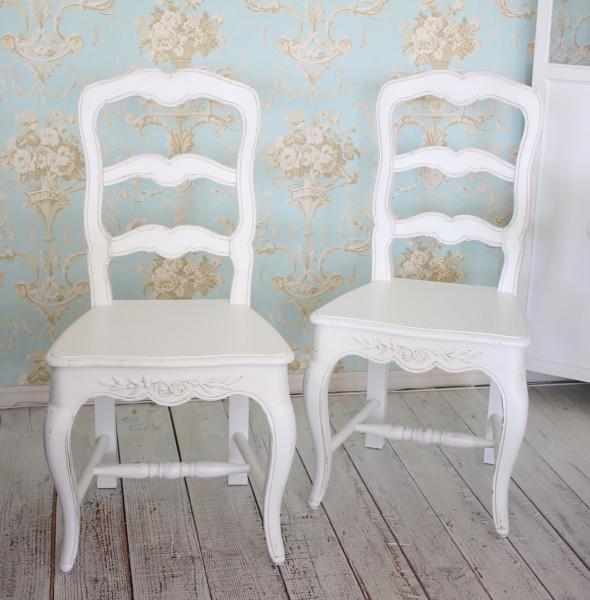 木製 ダイニングチェア ホワイト 211013 カントリーコーナー ロマンスコレクション アンティーク ウッドシート 白家具 白 ホワイ