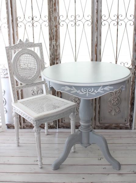 カントリーコーナー 【Country Corner】  ROMANCE ロマンスコレクション・フレンチグレー ラウンドサイドテーブル コーヒーテー