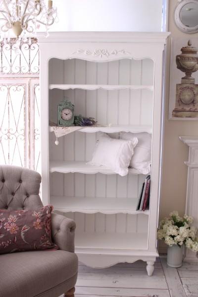 アンティーク 家具 カントリーコーナー ロマンスコレクション ホワイト・5段シェルフ 本棚 ディスプレイラック 大型 フランス 白