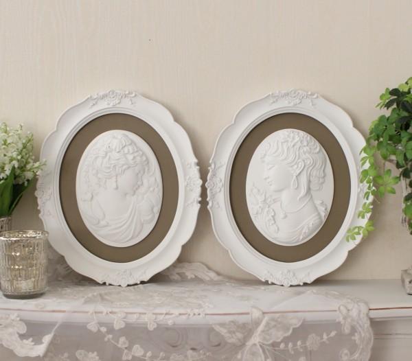 フレンチシャビーな額飾り♪ 貴婦人のカメオ (グレージュ2種有り) ウォールオブジェ アンティークホワイト 壁飾り ウォールデコ