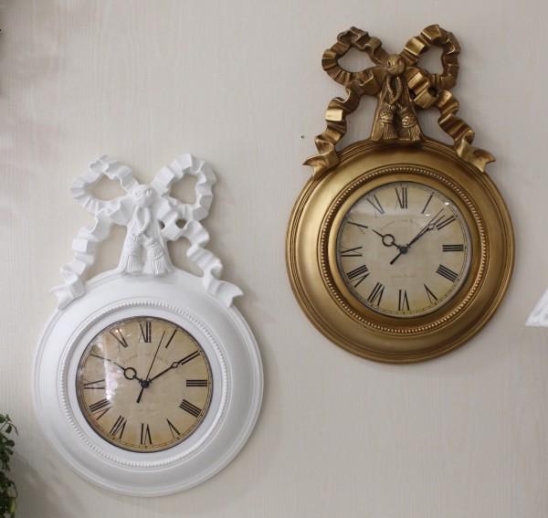 リボンモチーフの掛け時計(ホワイト・ゴールド) クォーツ掛け時計 ウォールクロック 輸入雑貨 アンティーク風 雑貨 シャビ