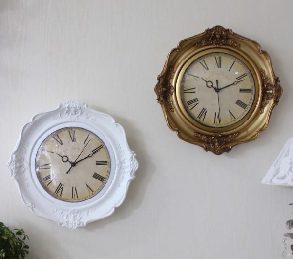 アンティーク風のヨーロピアン掛け時計(ホワイト・ゴールド) クォーツ掛け時計 ウォールクロック 輸入雑貨 アンティーク風