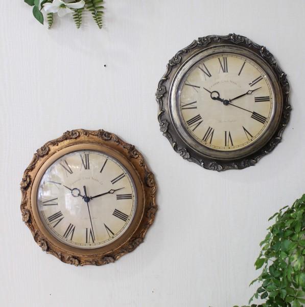 フレンチシックなアンティーク風 掛け時計(シルバー・ゴールド) クォーツ時計 輸入雑貨 シャビーシック フレンチカントリー 姫