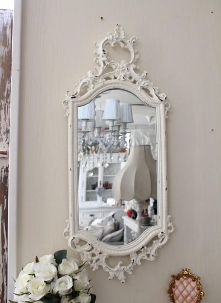 ロココ調 壁掛けミラー(ホワイト015)壁面 鏡 壁掛け ウォールデコ アンティーク風 シャビーシック ガーリー 姫系 アンティーク