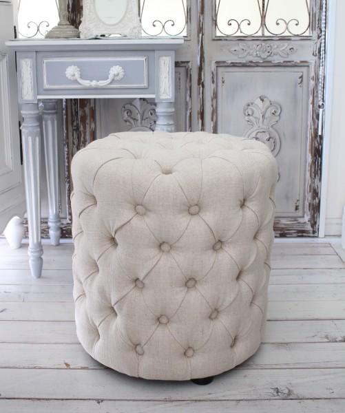 シャビーシックなフレンチスツール(リネンベージュ) オットマン 椅子 布張り シャビーシック アンティーク風 輸入雑貨 アンテ