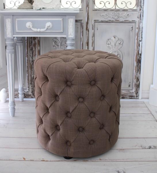 シャビーシックなフレンチスツール(リネンブラウン) オットマン 椅子 布張り シャビーシック アンティーク風 輸入雑貨 アンテ