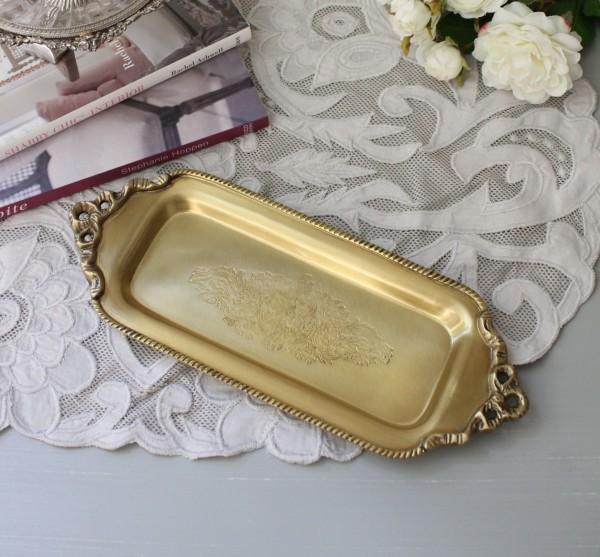 アンティーク 雑貨 (ゴールドトレー・リボン018)ブラス 金色  トレー 小物入れ おしゃれ アンティーク風 雑貨 輸入雑貨 anti