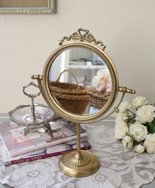 アンティーク 雑貨 (スタンドミラー・リボン001)ブラス 金色  卓上ミラー おしゃれ アンティーク風 雑貨 輸入雑貨 antique sh