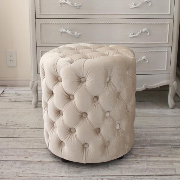 シャビーシックなフレンチスツール(ベルベット アイボリー) オットマン 椅子 布張り シャビーシック アンティーク風 輸入雑貨
