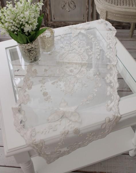 (SALE・40)シャビーシックなテーブルランナー 【ホワイトフラワー・40×100】 テーブルセンター ダマスク フレンチクラシッ