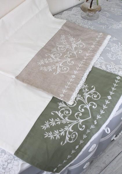 刺繍&レースのテーブルランナー(コットン・2色)40×140cm テーブルセンター フレンチシック 輸入雑貨 アンティーク風