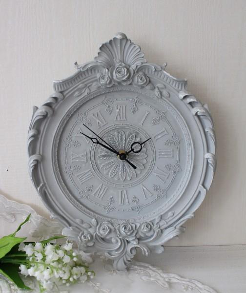 アンティーク風 フレンチグレーのデコラティブ掛け時計 シャビーシック フレンチカントリー フレンチシック 輸入雑貨 アンティ