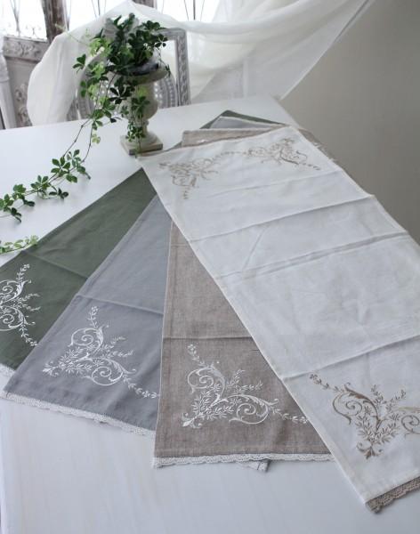 刺繍が素敵なテーブルランナー(コットン・4色)40×100cm テーブルセンター フレンチシック 輸入雑貨 アンティーク風 シ