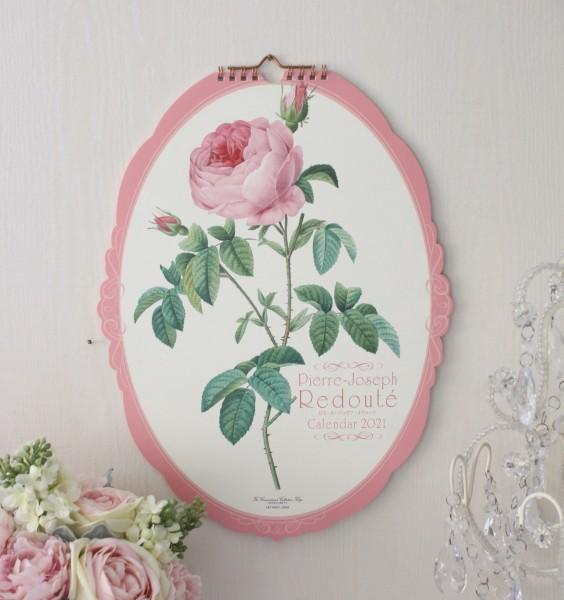 2021年  ルドゥーテ オーバル壁掛けカレンダー 薔薇 令和3年度 13枚つづり 日本製 ローズ カレンダー 可愛い お