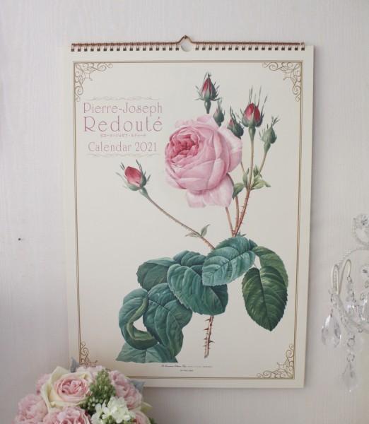 2021年  ルドゥーテ 壁掛けカレンダー大判 薔薇の香り付き 令和3年度  14枚つづり 日本製 ローズ 薔薇 ルドゥーテ