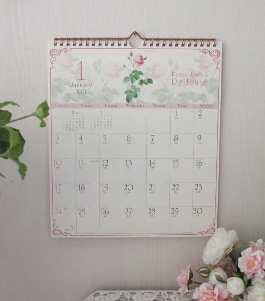 2021年  ルドゥーテ 壁掛けカレンダー30cm角 令和3年度  12枚つづり 日本製 薔薇 ローズ かわいい カレンダー