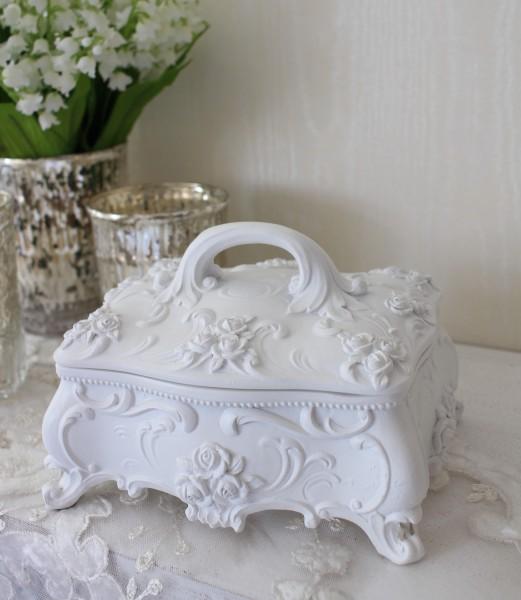 猫脚と薔薇のローズロココ・ジュエリーケース ホワイト アンティーク 雑貨 小物入れ 白 ホワイト ボックス シャビーシック アン