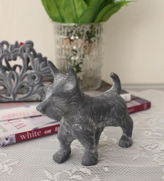 アンティークなペーパーウェイト(テリア・グレイ) 犬の置物 テリア 鋳物 キャストアイアン フレンチカントリー アンティーク風