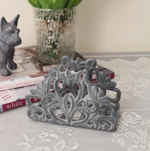 アンティークなペーパーホルダー(グレイ) ナプキンホルダー 鋳物 キャストアイアン フレンチカントリー アンティーク風 雑貨
