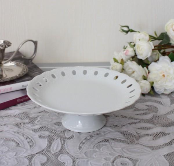 プチフルールプレート(ドットスカシ363) 台座の付いた可愛いスウィーツトレー ケーキスタンド アクセサリートレー 陶器製 ホワ