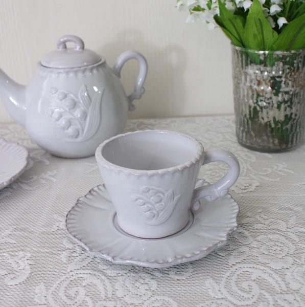 アンティーク風 フレンチ食器 ミュゲシリーズ カップ&ソーサー フレンチ食器 スズラン フランス アンティーク調 陶器 フレンチ