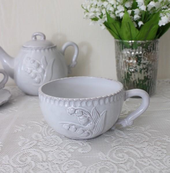 アンティーク風 フレンチ食器 ミュゲシリーズ スープカップ 持ち手付カップ フレンチ食器 スズラン フランス アンティーク調 陶