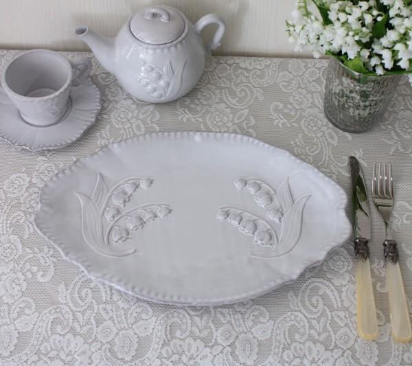 アンティーク風 フレンチ食器 ミュゲシリーズ オーバルプレート ディナープレート ディナー皿 フレンチ食器 スズラン フランス