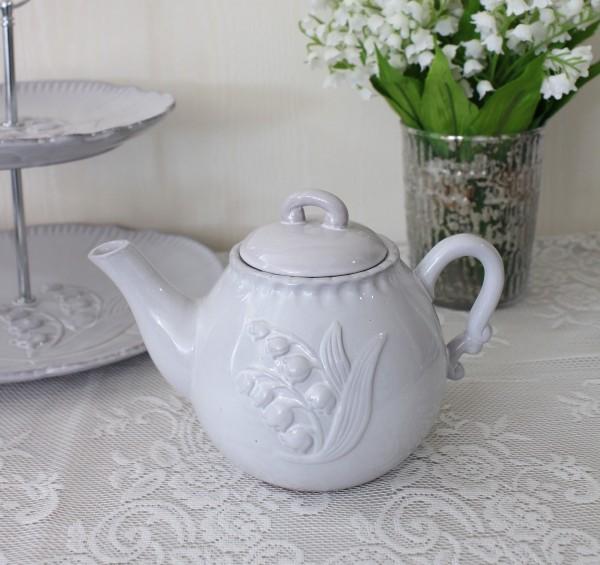 アンティーク風 フレンチ食器 ミュゲシリーズ ティーポット ポット フレンチ食器 スズラン フランス アンティーク調 陶器 フレン