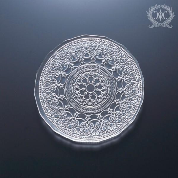 トルコ製の素敵なガラス食器 プレートSサイズ 1154 ガラスプレート 輸入食器 ガラス製 ケーキ皿 ディナー皿 おしゃれな食