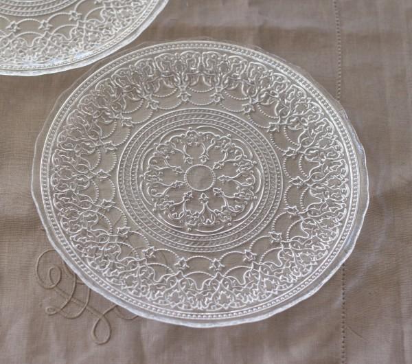 トルコ製の素敵なガラス食器♪ (プレートMサイズ) ガラスプレート 輸入食器 ガラス製 ケーキ皿 ディナー皿