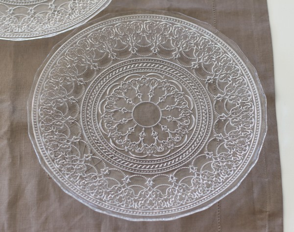 トルコ製の素敵なガラス食器♪ (プレートLサイズ) ガラスプレート 輸入食器 ガラス製 ケーキ皿 ディナー皿
