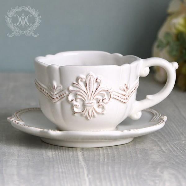アンティーク風 フレンチ食器 シェルシリーズ カップ&ソーサー フレンチ食器 フランス アンティーク調 陶器 フレンチカントリ