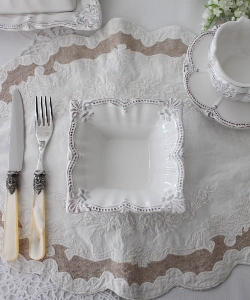 アンティーク風なフレンチ食器 シェルシリーズ スクエアボウル 小鉢 アンティーク調 陶器 アンティーク 食器 フレンチカントリー