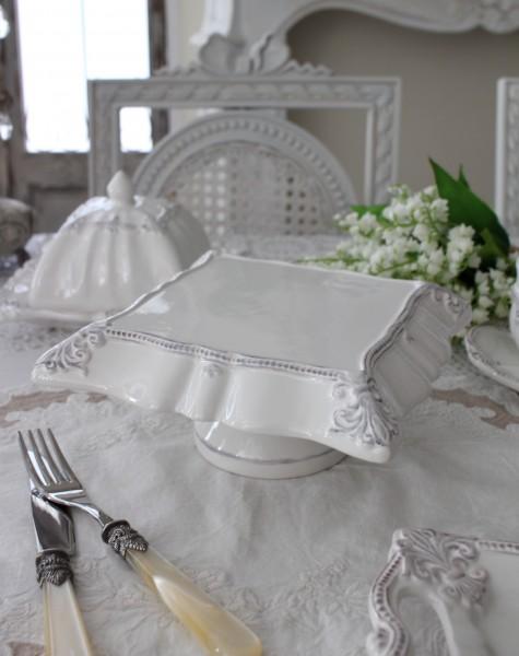 アンティーク風なフレンチ食器 シェルシリーズ スクエア ケーキスタンド フレンチ食器 フランス アンティーク調 陶器 フレンチカ