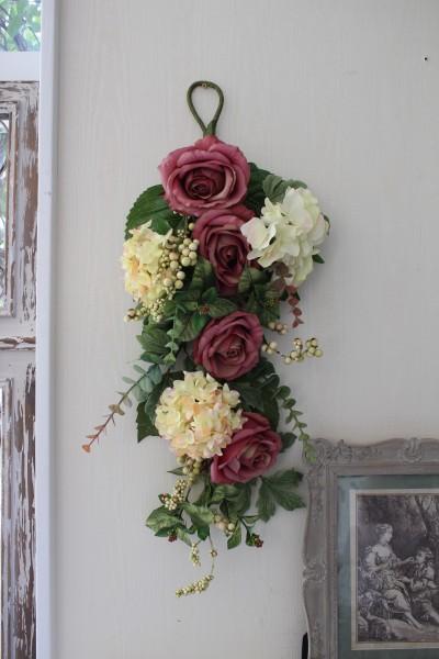 フラワーデコ・ピンクモーブ&アジサイ 造花の壁掛け シルクフラワー アーティフィシャルフラワー ウォールデコ 壁飾り 薔