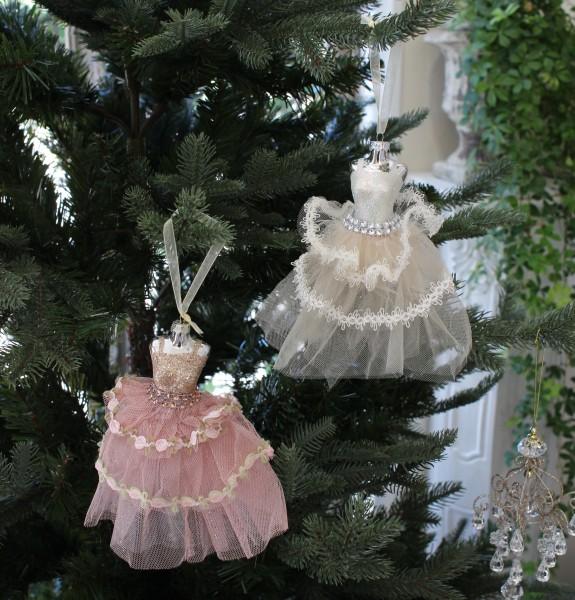 ★SALE・30★ X'mas♪♪ ドレスオーナメント(ホワイト・ピンク) クリスマスオーナメント ツリーオーナメント シャビー