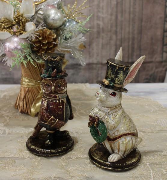 ★SALE・30★ X'mas♪♪ バロックオブジェ(ラビット・フクロウ) 置物 オブジェ クリスマス ディスプレイ シャビーシ