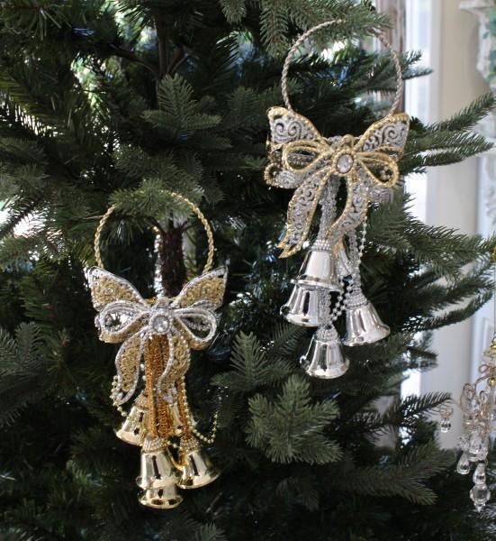 ★SALE・30★ X'mas♪♪ ドアベル・リボンモチーフ(ゴールド/シルバー) オブジェ クリスマス ディスプレイ シャビーシ
