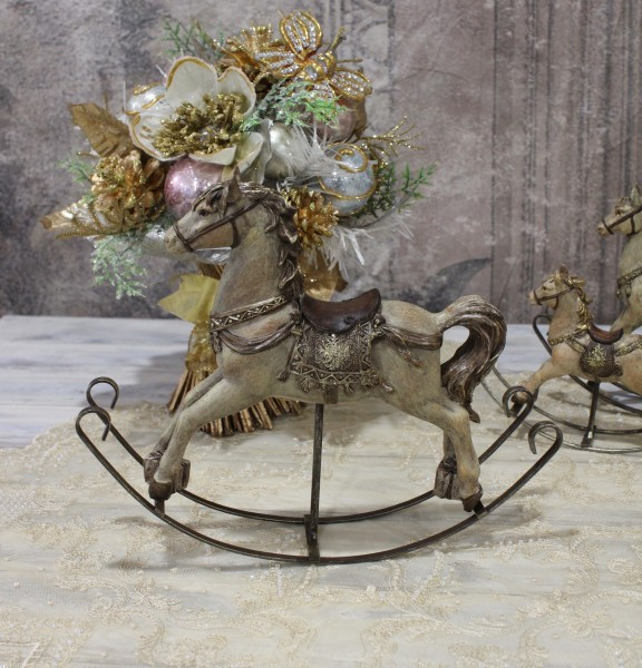 アンティークカラーのロッキングホースL オブジェ クリスマス ディスプレイ シャビーシック フレンチカントリー アンティー