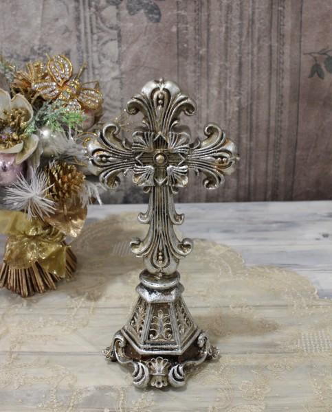アンティークシルバーのクロスデコL 十字架 オブジェ クリスマス ディスプレイ シャビーシック フレンチカントリー アンティー