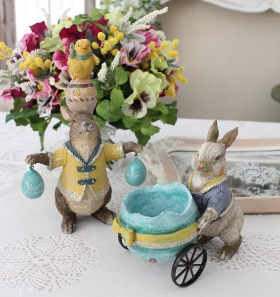 春を告げるイースターラビット(ヒヨコ・荷車) 可愛い ウサギ 置物  シャビーシック フレンチカントリー アンティーク 雑