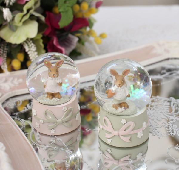 小ぶりで可愛いミニスノーボール(ラビット) 可愛い ウサギ 置物  シャビーシック フレンチカントリー アンティーク 雑貨