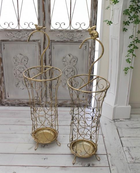 アンティーク風のお洒落な傘立て(ラビット・バード) アンブレラスタンド 傘立て ゴールド アイアン製 シャビーシック アンティ