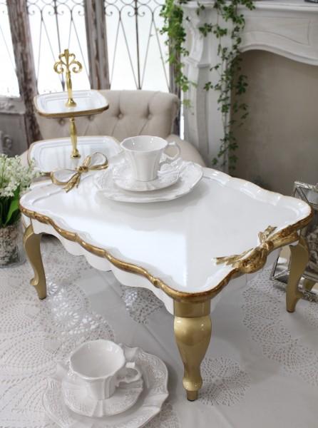 ヴェルサイユシリーズ ティーテーブル・ブレックファーストテーブル トレー お盆 木製 かわいい シャビーシック アンティーク
