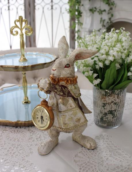 アリスラビットの置時計 置物 オブジェ 不思議の国のアリス ウサギ  ディスプレイ シャビーシック フレンチカントリー アン