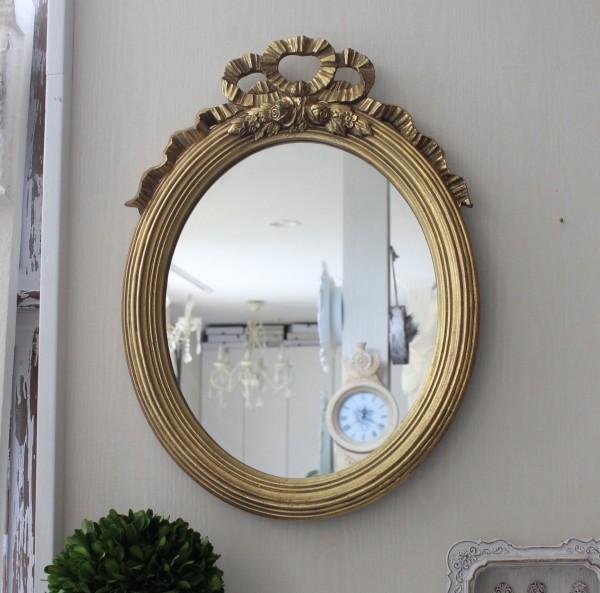アンティーク風・壁掛けミラー (リボンミラー オーバル ゴールド) 壁掛けミラー  シャビーシック  フレンチカントリー アンテ