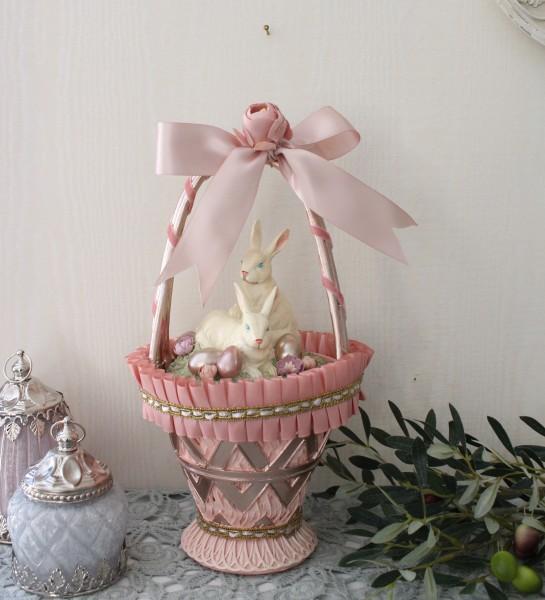 可愛いウサギの置物(バスケット)ラビット 小物入れ アンティーク風 アンティーク 雑貨 姫系 輸入雑貨 シャビーシック フレンチ