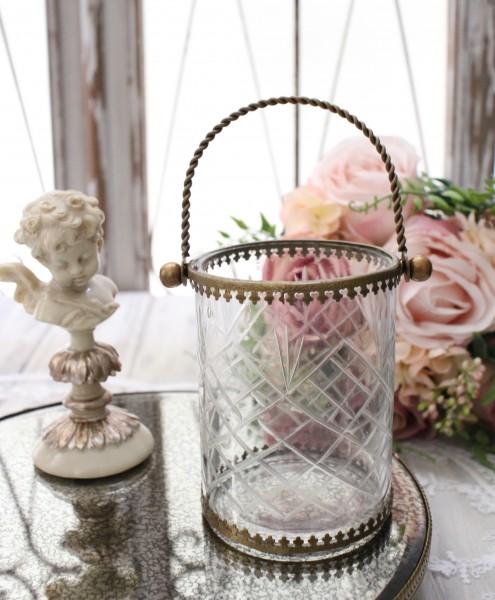 マキアージュ・ハンドルグラスポット(持ち手付)(花瓶・フラワーベース・小物入れ・ツールスタンド) お洒落 アンティーク風